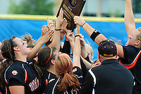 The Wildcats celebrate their victory over La Crosse Central in Division 1 softball semifinals at Firefighters Park in Middleton, Wisconsin on Friday, 6/11/10