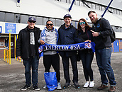 1st October 2017, Goodison Park, Liverpool, England; EPL Premier League Football, Everton versus Burnley;  Visiting Everon fans from Los Angeles, California pose for a photo outside the Sir Philip Carter stand