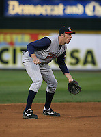 2007:  Mike Hessman of the Toledo Mudhens gets ready while playing third base vs. the Rochester Red Wings in International League baseball action.  Photo By Mike Janes/Four Seam Images