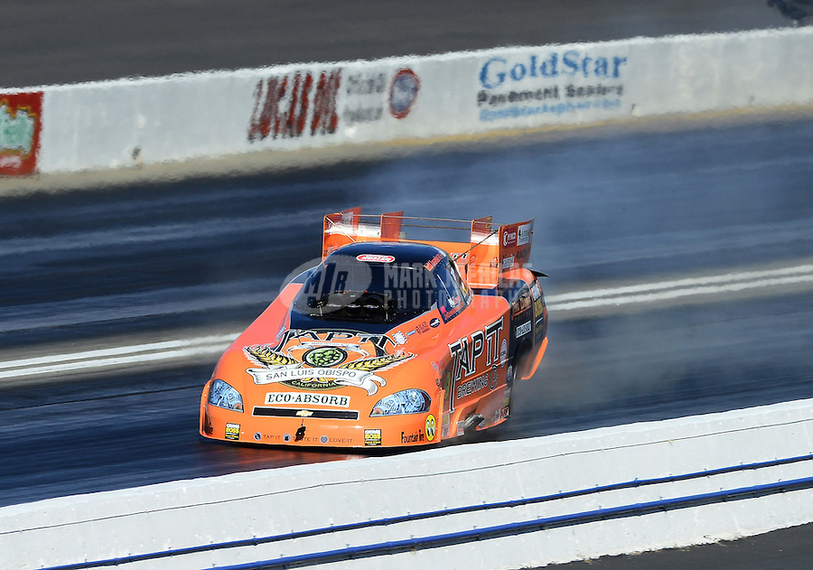 Nov. 10, 2012; Pomona, CA, USA: NHRA funny car driver Todd Lesenko during qualifying for the Auto Club Finals at at Auto Club Raceway at Pomona. Mandatory Credit: Mark J. Rebilas-