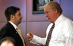 Nevada Sen. Mark Manendo, left, talks with Mike Schneider, both D-Las Vegas, at the Legislature in Carson City, Nev. on Wednesday, March 2, 2011..Photo by Cathleen Allison