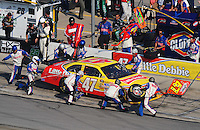 Sept. 28, 2008; Kansas City, KS, USA; Nascar Sprint Cup Series driver Marcos Ambrose pits during the Camping World RV 400 at Kansas Speedway. Mandatory Credit: Mark J. Rebilas-