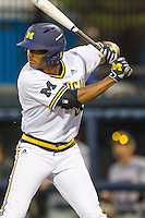 Michigan Wolverines pinch hitter Johnny Slater (25) at bat against the Oakland Golden Grizzlies on May 17, 2016 at Ray Fisher Stadium in Ann Arbor, Michigan. Oakland defeated Michigan 6-5 in 10 innings. (Andrew Woolley/Four Seam Images)