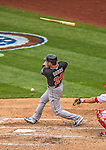 1 April 2013: Miami Marlins infielder Greg Dobbs breaks his bat during the Opening Day Game against the Washington Nationals at Nationals Park in Washington, DC. The Nationals shut out the Marlins 2-0 to launch the 2013 season. Mandatory Credit: Ed Wolfstein Photo *** RAW (NEF) Image File Available ***