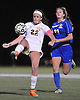 Massapequa No. 22 Melanie Hinger makes a bicycle kick during the varsity girls' soccer Class AA Long Island Championship against West Islip at Adelphi University on Saturday, November 7, 2015. She scored a goal in Massapequa's 3-0 win. <br /> <br /> James Escher