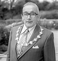 Tommy Craig, Mayor of Derry, Mayor of Londonderry, Ulster Unionist, 1978/79, July, 1978, 197807000206<br /><br />Copyright Image from Victor Patterson, 54 Dorchester Park, <br />Belfast, UK, BT9 6RJ<br /><br />t1: +44 28 9066 1296 (from Rep of Ireland 048 9066 1296)<br />t2: +44 28 9002 2446 (from Rep of Ireland 048 9002 2446)<br />m: +44 7802 353836<br /><br />victorpatterson@me.com<br />www.victorpatterson.com<br /><br />Please see my Terms and Conditions of Use at VICTORPATTERSON.COM. It is IMPORTANT that you familiarise yourself with them.<br /><br />Images used on the Internet must be visibly watermarked i.e. ©VICTORPATTERSON.COM within the body of the image and copyright metadata must not be deleted. Images used on the Internet have a size restriction of 4kbs and are chargeable at the then current NUJ rates.<br /><br />This image is only available for the use of the download recipient i.e. television station, newspaper, magazine, book publisher, etc, and must not be passed on to any third party. It is also downloaded on condition that each and every usage is notified within 7 days to victorpatterson@me.com<br /><br />The right of Victor Patterson to be identified as the author is asserted in accordance with The Copyright Designs And Patents Act (1988).