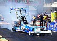 Sept. 22, 2013; Ennis, TX, USA: NHRA top fuel dragster driver T.J. Zizzo during the Fall Nationals at the Texas Motorplex. Mandatory Credit: Mark J. Rebilas-
