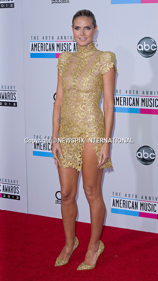 """HEIDI KLUM.attends the 40th American Music Awards, Nokia Theatre, Los Angeles_18/11/2012.Mandatory Photo Credit: ©Francis Dias/Newspix International..**ALL FEES PAYABLE TO: """"NEWSPIX INTERNATIONAL""""**..PHOTO CREDIT MANDATORY!!: NEWSPIX INTERNATIONAL(Failure to credit will incur a surcharge of 100% of reproduction fees)..IMMEDIATE CONFIRMATION OF USAGE REQUIRED:.Newspix International, 31 Chinnery Hill, Bishop's Stortford, ENGLAND CM23 3PS.Tel:+441279 324672  ; Fax: +441279656877.Mobile:  0777568 1153.e-mail: info@newspixinternational.co.uk"""