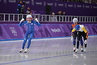 OLYMPIC GAMES: PYEONGCHANG: 24-02-2018, Gangneung Oval, Long Track, Mass Start Men, Olympic champion Lee Seung-Hoon (KOR), Bart Swings (BEL), Koen Verweij (NED), ©photo Martin de Jong