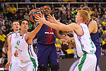 Turkish Airlines Euroleague 2017/2018.<br /> Regular Season - Round 13.<br /> FC Barcelona Lassa vs Unicaja Malaga: 83-90.<br /> Carlos Cabeza, Kevin Seraphin &amp; Alberto Diaz.