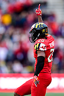 College Park, MD - OCT 27, 2018: Maryland Terrapins defensive back Antwaine Richardson (20) celebrates a interception during game between Maryland and Illinois at Capital One Field at Maryland Stadium in College Park, MD. The Terrapins defeated Illinois to move to 5-3 on the season. (Photo by Phil Peters/Media Images International)