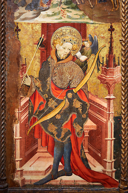 Gothic Altarpiece of St Sebastia (Sebastian) , by Joan Mates of Villafranca de Penedes, circa 1417-1425, from the refrectory of Pia Almoina, Barcelona, Tempera and gold leaf on wood.  National Museum of Catalan Art, Barcelona, Spain, inv no: MNAC  32340. Joan Mates was a Spanish painter of the International Gothic style.