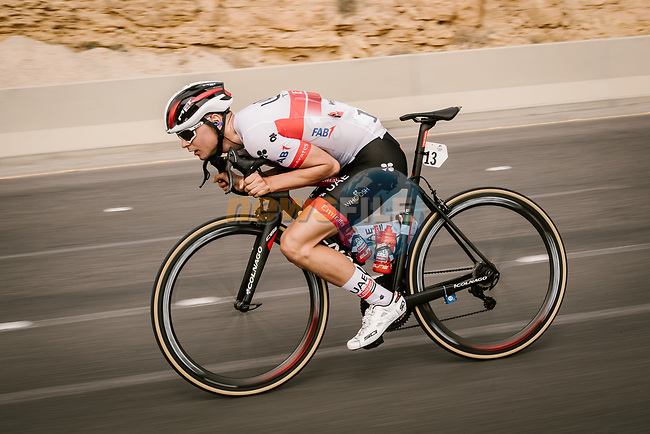 Alessandro Covi (ITA) UAE Team Emirates descends during Stage 3 of the Saudi Tour 2020 running 119km from King Saud University to Al Bujairi, Saudi Arabia. 6th February 2020. <br /> Picture: ASO/Pauline Ballet | Cyclefile<br /> All photos usage must carry mandatory copyright credit (© Cyclefile | ASO/Pauline Ballet)
