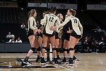 The Wake Forest Demon Deacons huddle up following a point during the match against the USC Upstate Spartans in the LJVM Coliseum on September 9, 2017 in Winston-Salem, North Carolina.  The Demon Deacons defeated the Spartans 3-2.   (Brian Westerholt/Sports On Film)