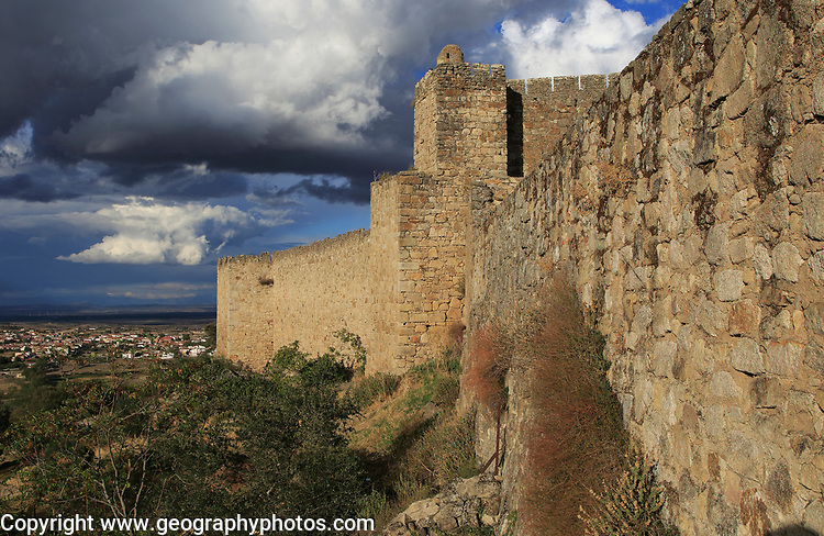 Hilltop castle in historic medieval town of Trujillo, Caceres province, Extremadura, Spain