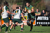 Cameron Skelton makes a run at Peter White during the Counties Manukau Premier Club Rugby game between Pukekohe and Manurewa, played at Colin Lawrie Fields, Pukekohe, on Saturday May 28th, 2016. Pukekohe won the game 62 - 18 after leading 19 - 10 at halftime. Photo by Richard Spranger.