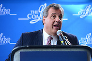 "Cleveland, OH - July 20, 2016: New Jersey Governor Chris Christie speaks at a luncheon ""Honoring Hispanic Leaders"" at the First Energy Powerhouse in Cleveland, Ohio, July 20, 2016. The event, sponsored by The Latino Coalition, occurred during the Republican National Committee Convention in Cleveland. Gov. Christie addressed the RNC convention the night before.  (Photo by Don Baxter/Media Images International)"
