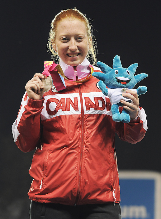 November 17 2011 - Guadalajara, Mexico:  Virginia McLachlan after receiving her Silver Medal in the 100m - T38 in the Telmex Athletic's Stadium at the 2011 Parapan American Games in Guadalajara, Mexico.  Photos: Matthew Murnaghan/Canadian Paralympic Committee