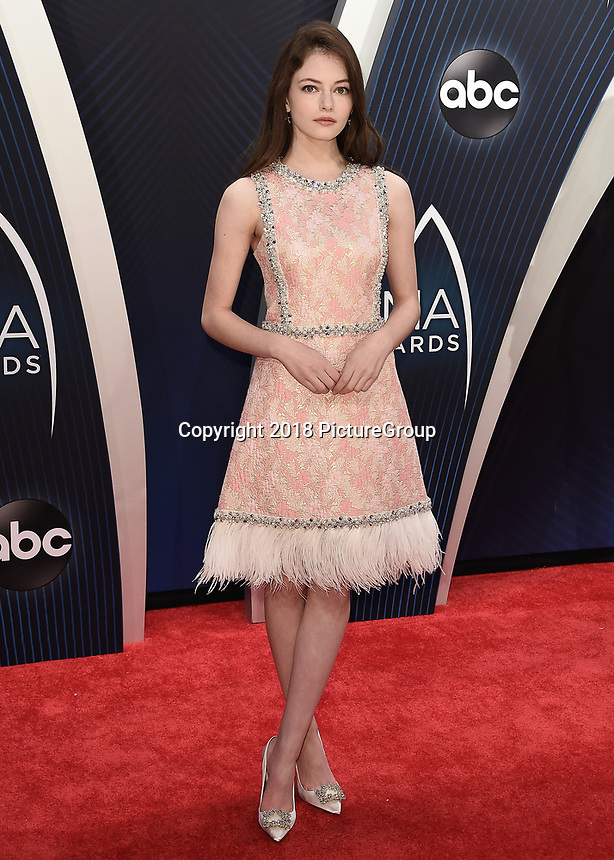 NASHVILLE, TN - NOVEMBER 14:  Mackenzie Foy at the 52nd Annual CMA Awards at the Bridgetone Arena on November 14, 2018 iin Nashville, Tennessee. (Photo by Scott Kirkland/PictureGroup)