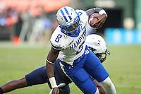 Washington, DC - September 16, 2016: Hampton Pirates quarterback Brandon Cox (8) scores a touchdown during game between Hampton and Howard at  RFK Stadium in Washington, DC. September 16, 2016.  (Photo by Elliott Brown/Media Images International)