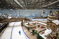 Uzbekistan - Tashkent - An employee skates inside the Ice City. A 15,000 square meters of space, ice and snow attractions, ice rink, olympic size, trying to be registered for hockey matches. Opening on 2nd February 2019. Total investment about 30 million USD.