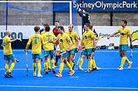 2nd February 2020; Sydney Olympic Park, Sydney, New South Wales, Australia; International FIH Field Hockey, Australia versus Great Britain; Australia celebrates after Lachlan Sharp scores to make it 2-1
