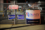 Signs for former Massachusetts Governor and Republican presidential candidate Mitt Romney hang on a fence at a grassroots rally at the Lanco paint company in Orlando, Florida, USA, 27 January 2012. Republican candidates are campaigning in Florida in the lead up to the Florida Primary on 31 January 2012.