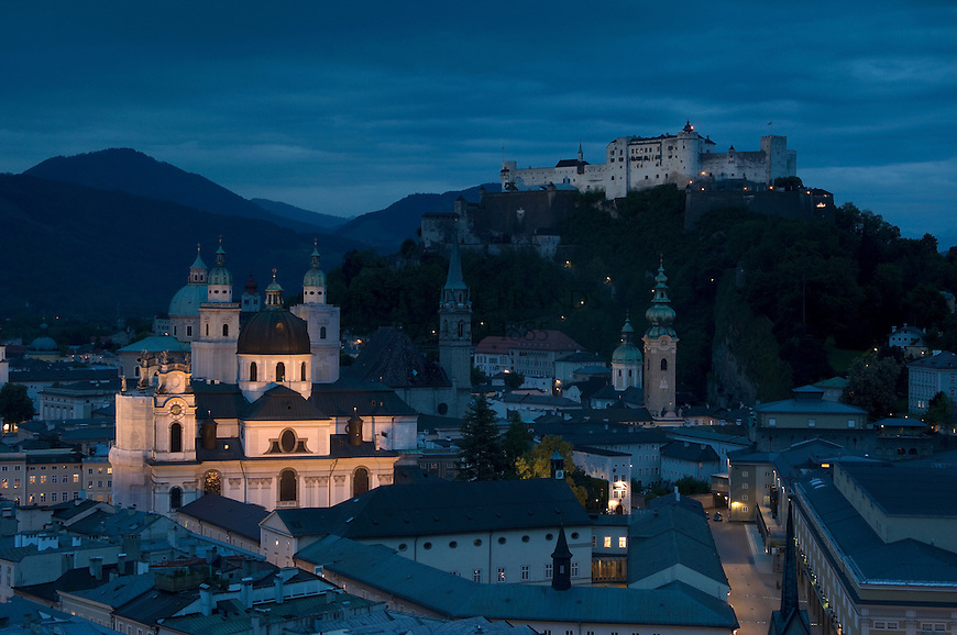 Dusk view of Salzberg, Austria. © Michael Brands. 970-379-1885.
