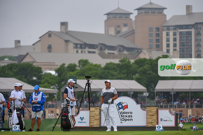 Byeong Hun An (KOR) looks over his tee shot on 11 during day 3 of the Valero Texas Open, at the TPC San Antonio Oaks Course, San Antonio, Texas, USA. 4/6/2019.<br /> Picture: Golffile | Ken Murray<br /> <br /> <br /> All photo usage must carry mandatory copyright credit (© Golffile | Ken Murray)