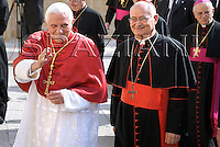 is welcome by local bishops as he arrives to Brindisi's Cathedral  Cardinal Salvatore De Giorgi,..June 15, 2008. ..