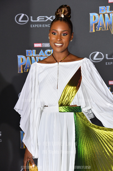 """Issa Rae at the world premiere for """"Black Panther"""" at the Dolby Theatre, Hollywood, USA 29 Jan. 2018<br /> Picture: Paul Smith/Featureflash/SilverHub 0208 004 5359 sales@silverhubmedia.com"""