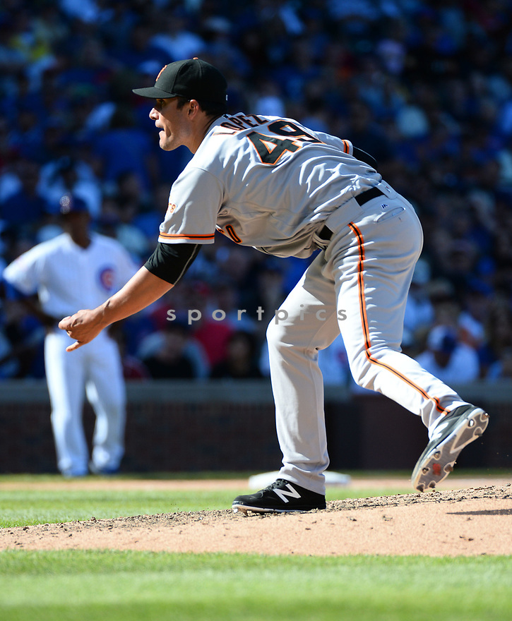 San Francisco Giants Javier Lopez (49) during a game against the Chicago Cubs on September 3, 2016 at Wrigley Field in Chicago, IL. The Giants beat the Cubs 3-2.
