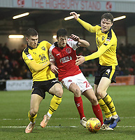Fleetwood Town's Ashley Nadesan battles with Oxford United's Josh Ruffels (left) and Rob Dickie<br /> <br /> Photographer Rich Linley/CameraSport<br /> <br /> The EFL Sky Bet League One - Fleetwood Town v Oxford United - Saturday 12th January 2019 - Highbury Stadium - Fleetwood<br /> <br /> World Copyright &copy; 2019 CameraSport. All rights reserved. 43 Linden Ave. Countesthorpe. Leicester. England. LE8 5PG - Tel: +44 (0) 116 277 4147 - admin@camerasport.com - www.camerasport.com