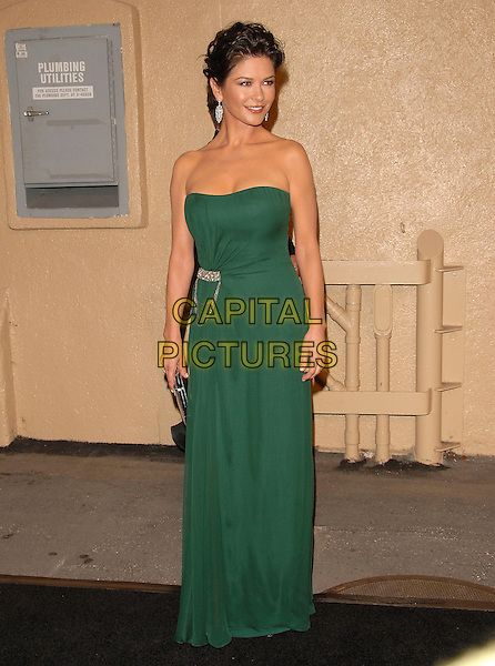 "CATHERINE ZETA JONES .attends The 2nd Annual ""A Fine Romance"" to benefit The Motion Picture & Television Fund held at Sony Picture Studios in Culver City, California, USA, .October 20th 2007..full length  green strapless dress silver clutch bag purse                         .CAP/DVS.©Debbie VanStory/Capital Pictures"