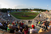 A crowd of 3,980 fans were on hand to watch the Hagerstown Suns and the Kannapolis Intimidators play a double header at CMC-Northeast Stadium on May 31, 2014 in Kannapolis, North Carolina.  The Intimidators swept the Suns, winnings game one 3-2 and game two 4-3.  (Brian Westerholt/Four Seam Images)