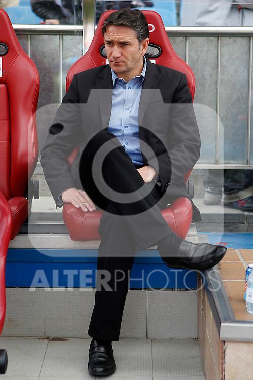 Real Sociedad's coach Phillipe Montanier during La Liga match.Mayo 2,2012. (ALTERPHOTOS/Acero)