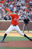 Neal Davis of the Virginia Cavaliers playing in Game Two of the NCAA Super Regional tournament against the Oklahoma Sooners at Charlottesville, VA - 06/13/2010. Oklahoma defeated Virginia, 10-7, to tie the series after two games.  Photo By Bill Mitchell / Four Seam Images