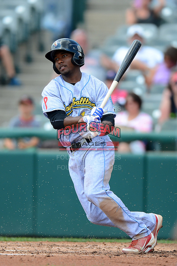 Reading Fightin Phils second baseman Albert Cartwright #13 during a game against the Trenton Thunder on July 8, 2013 at Arm & Hammer Park in Trenton, New Jersey.  Trenton defeated Reading 10-6.  (Mike Janes/Four Seam Images)
