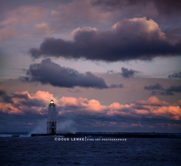 The Furious Light Of Dawn On A stormy Morning, Lake Michigan At Frankfort, Michigan