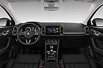 Stock photo of straight dashboard view of a 2018 Skoda Karoq Style 5 Door SUV