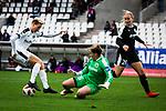 16.03.2019, Stadion Essen, Essen, GER, AFBL, SGS Essen vs TSG 1899 Hoffenheim, DFL REGULATIONS PROHIBIT ANY USE OF PHOTOGRAPHS AS IMAGE SEQUENCES AND/OR QUASI-VIDEO<br /> <br /> im Bild | picture shows:<br /> Cara Boesl (FFC Frankfurt #26) kl&auml;rt den Ball vor Sarah Freutel (SGS Essen #7), <br /> <br /> Foto &copy; nordphoto / Rauch