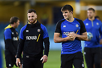Max Wright and Josh Bayliss of Bath Rugby look on prior to the match. Gallagher Premiership match, between Bath Rugby and Exeter Chiefs on October 5, 2018 at the Recreation Ground in Bath, England. Photo by: Patrick Khachfe / Onside Images
