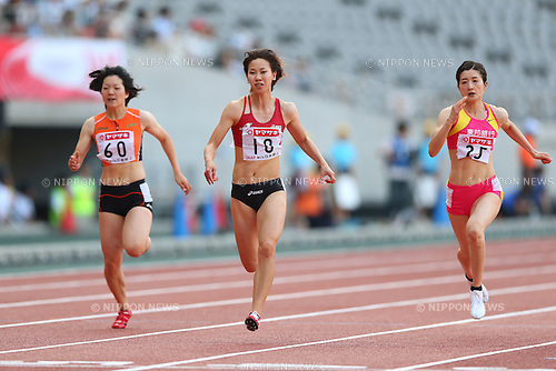 (L to R) Anna Doi, Chisato Fukushima, Mayumi Watanabe (JPN), <br /> June 8, 2013 - Athletics : <br /> The 97th Japan Athletics National Championships, Women's 100m Final <br /> at Ajinomoto Stadium, Tokyo, Japan. <br /> (Photo by Daiju Kitamura/AFLO SPORT) [1045]