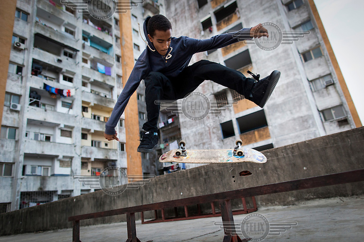Yulian Edmundovitch at the skatepark that the skaters have built for themselves above an underground car park.<br /> <br /> Skateboarding is one of those sports that has a dedicated band of followers.  It&rsquo;s a sport that kids organize for themselves and work hard to build basic facilities for themselves if there is nothing available in there communities.<br /> In Maputo, Mozambique one such group exists.  they call themselves Associacoa do Skate de Mozambique- ASM have have their own facebook page:  Associa&ccedil;&atilde;o do Skate de Mo&ccedil;ambique - ASM<br /> <br /> The street skate around suitable locations in Maputo and with the help of funding from Skate Aid they built themselves a couple of ramps that they use above an underground car park.  What they have is quite basic but this doesn&rsquo;t stop they&rsquo;re enthusiasm for the sport. /Felix Features