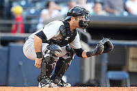 Trenton Thunder catcher Austin Romine #16 during a game against the Akron Aeros at Canal Park on July 26, 2011 in Akron, Ohio.  Trenton defeated Akron 4-3.  (Mike Janes/Four Seam Images)