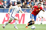 Spain's Sergio Busquets (r) and South Korea's Taehee Nam during friendly match. June 1,2016.(ALTERPHOTOS/Acero)