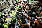 Protestors clash with police, in protests against George Bush in Parliament Square at the entrance to Whitehall, London, UK, while US President George Bush visits Prime Minister Gordon Brown in Downing Street, June 15, 2008..Copyright Photograph: Helen Atkinson 2008 +44 7976 265253