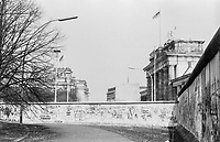 West Germany, Berlin, the wall in year 1988, Reichstag and Brandenburg Gate viewed from West Berlin
