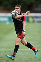 Rhodri Williams of the Dragons passes the ball during the pre-match warm-up. Pre-season friendly match, between Ealing Trailfinders and the Dragons on August 11, 2018 at the Trailfinders Sports Ground in London, England. Photo by: Patrick Khachfe / Onside Images
