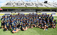 4th February 2020, Eden Park, Auckland, New Zealand;  Children from Birkdale Primary, Ahuroa School, Horizon School and Woodhill School pose for a group photo. RWC 2021 New Zealand Kick-Off event at Eden Park, Auckland, New Zealand